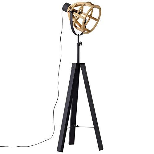 BRILLIANT lamp Matrix Nature vloerlamp driepoots antiek hout/zwart korund |1x G95, E27, 60W, geschikt voor standaardlampen (niet inbegrepen)Schaal A ++ tot E |In hoogte verstelbaar