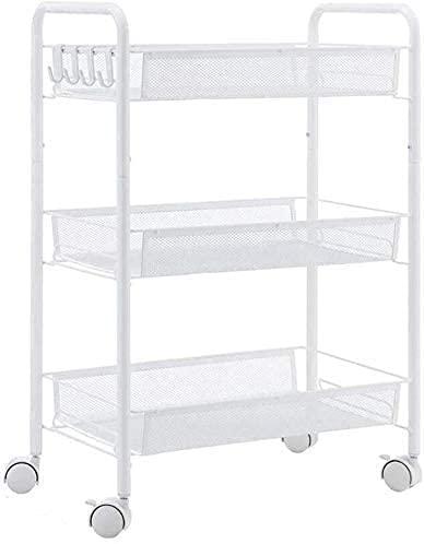COLiJOL Estante para carrito de cocina, varias capas, para sala, aperitivos, frutas y verduras (color: blanco), color blanco