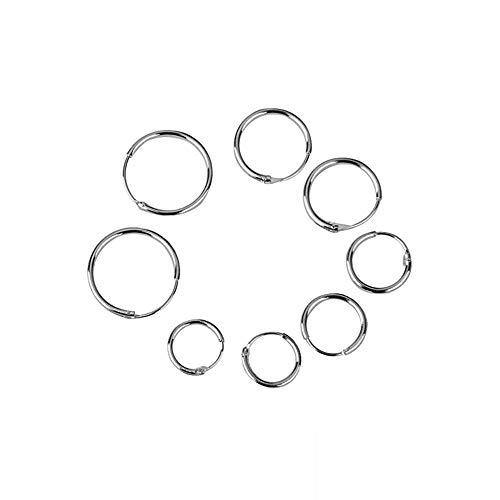 4 paia di orecchini a cerchio, in argento Sterling 925 con perno per il lobo, diametro: 8, 10, 12, 14 mm