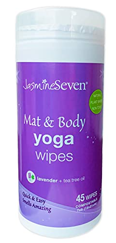 Yoga Wipes for Body and Mat - Natural Lavender and Tea Tree - 45 Wipes in Resealable Canister - by Jasmine Seven - for Home, Studio, Gym, Spa