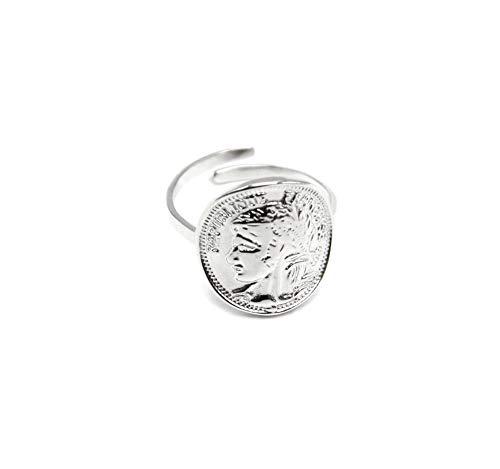 Oh My Shop BG490F - Anello regolabile con moneta Napoleone in acciaio argentato