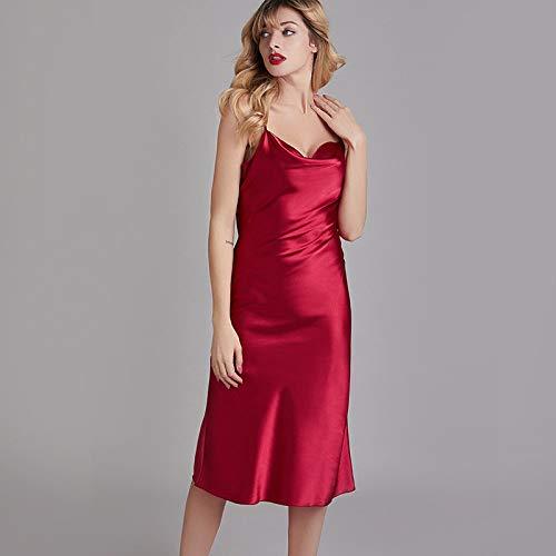 YRTHOR Ropa de Dormir de Moda para Mujer de Primavera, camisón de Seda de imitación sin Espalda, camisón para Mujer, Homewear,Rojo,S