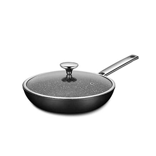 ZYK Frying pan, non-stick wok with lid, stainless steel induction pot and tempered glass cover, less fume, easy to clean, suitable for all hobs including induction (size: 26cm)