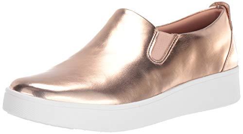 FitFlop Women's Agnes Skate Sneaker-Metallic, Rose Gold, 6.5 M US