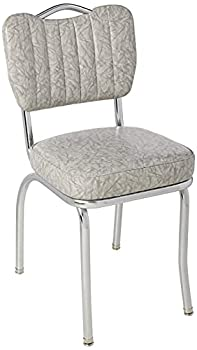 Richardson Seating Single Tone Channel Handle Back Retro Kitchen Chair with 2  Box Seat Cracked Ice Grey 18