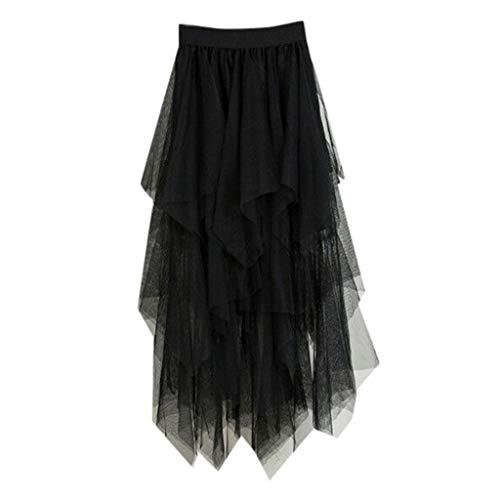 VEMOW Faldas Mujer cómoda de Tul de Cintura Alta Falda Plisada del tutú de Las señoras Falda de Midi (Negro, Una Talla)