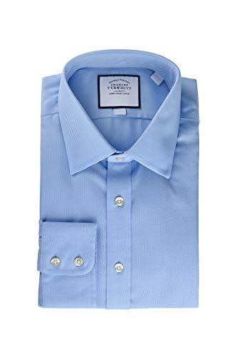 Charles Tyrwhitt Slim Fit Non Iron Sky Blue Arrow Weave Dress Shirt 15.5 Neck 33 Sleeve