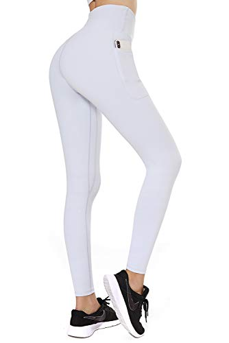 FETY Women's Workout Leggings with Pockets High Waist Full-Length Yoga Pants Tummy Control 4 Way Stretch Pants for Women Pearl White