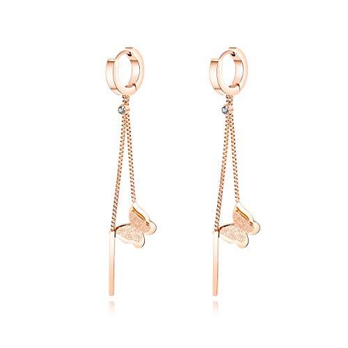 USUASI Pendientes de mariposa de acero de titanio con circonita cúbica para mujer, oro/oro rosa, mariposa en forma de C para damas y fiestas,