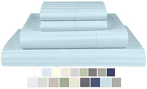 Threadmill Home Linen 600 Thread Count 100% Cotton Sheets, 1CM Damask Stripe Blue Queen Sheets 4 Piece ELS Cotton Bed Sheet Set Luxury Sateen Sheets Fits Mattress Up to 18'' Deep Pocket