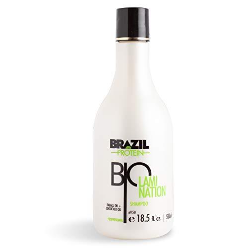 Brazil Protein Biolamination - Shampú - 550ml - pH 5.0- Cuidado en casa del Alisado Brasileño- Sin Sulfato -Sin Formol - Enriquecido con extractos de coco y babaçu - Hidratación y brillo natural