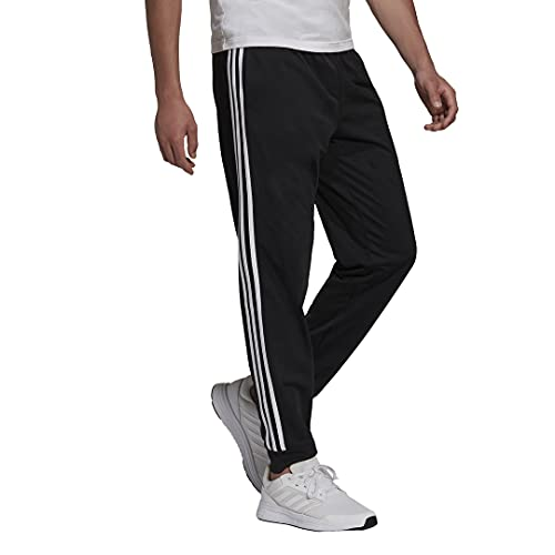 adidas Men's Standard Essentials Warm-Up Slim Tapered 3-Stripes Tracksuit Bottoms, Black/White, Small