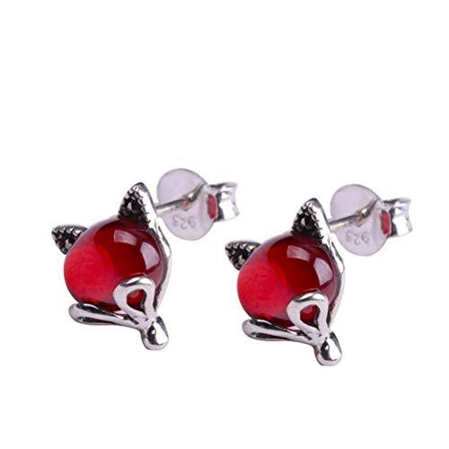 LOt Pendiente de Gota para el Oído S925 Pendientes de Joyería de Plata Esterlina Estilo de Arte de Moda Pendientes de Botón Rojo de Granada de Zorro Femeninorojo, Plata 925