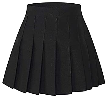 SANGTREE Junior Teen Girls Womens High Waist School Uniform Cosplay Costume Pleated Short Skirt Black Tag XL = US L