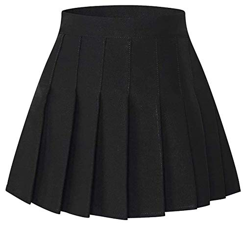SANGTREE Toddler Little & Big Girls' Solid Plain Pleated School Uniform Short A-Line Skirt, Black, 13-14 Years/Height 66.9' = Tag 170