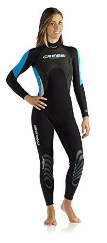 Cressi Damen Einteiliger Tauchanzug Morea All-In-One, Black/White/Blue, L, LU476504