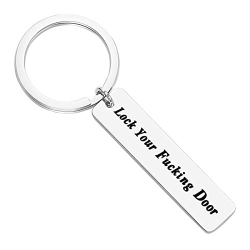 Lock Your Door Keychain New Home Housewarming Jewelry Gifts for Friends Him Her House Warming Gift