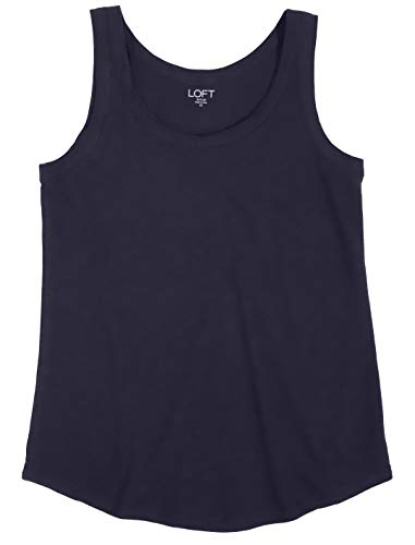 Ann Taylor LOFT Outlet Women's Sand Washed Cotton Tank (Navy Blue, S)