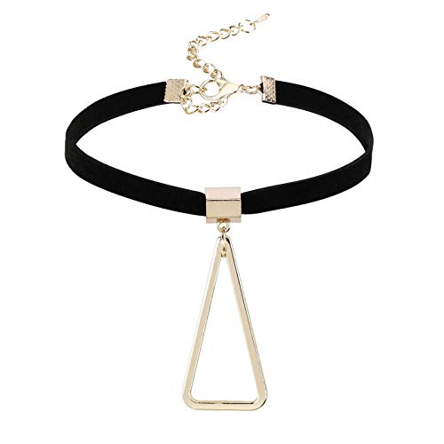KnBob Collar Necklace Gold Black Triangle Pendant Necklace Stainless Steel for Women
