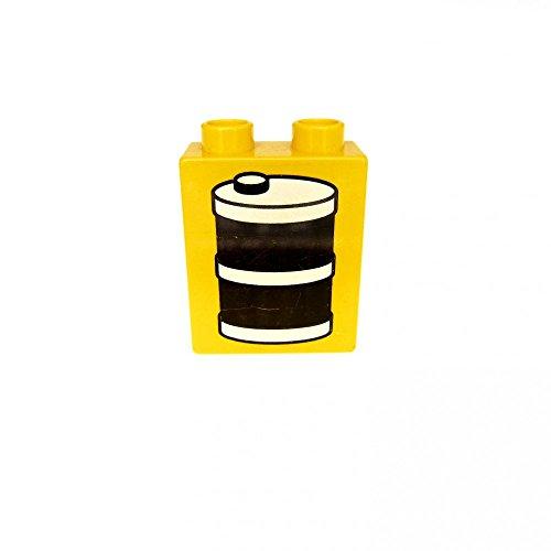 1 x Lego Duplo Motivstein gelb 1x2x2 bedruckt Öl Faß Tonne Kanister Tankstelle Bild 2 Bau Stein 4066