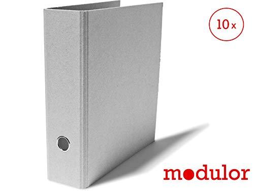 Modulor Ordner-Set, Aktenordner aus Graukarton mit Hebelmechanik, Ringordner mit 8 cm Rückenbreite für DIN A4, grau, 29,0 cm x 31,5 cm. (10)