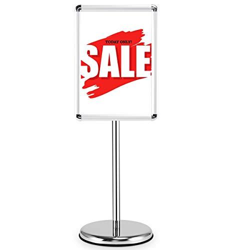 COSTWAY Infoständer Informationsständer Plakatständer Kundenstopper Präsentationsständer Plakat Aufsteller Ständer Werbeständer DIN A4/A3 aus Metall höhenverstellbar drehbar schwenkbar (A3)