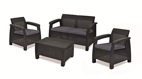 Keter Corfu Set of Rattan Resin Lounge Furniture 76x170x58 cm Graphite Grey