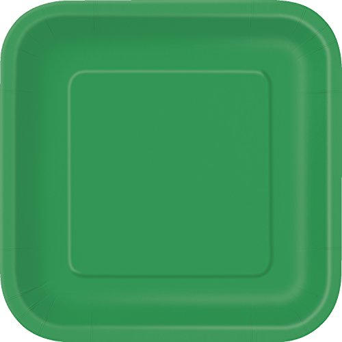 Unique Party Party Pappteller,18cm, quadratisch,16Stück, smaragdgrün, 6 7/8-Inch, 31860