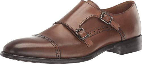 Gordon Rush Men's Corbett Double Monk Strap. High End Made in Italy Blake Constructed Dress Shoes with Premium Italian Calfskin Upper, Leather Lining, and Leather Sole. (Cognac, 13)