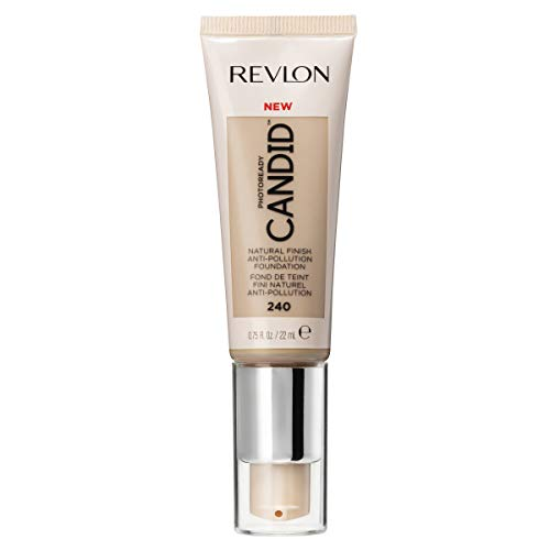 Revlon PhotoReady Candid Natural Finish Foundation, with Anti-Pollution, Antioxidant, Anti-Blue Light Ingredients, 240 Natural Beige, 0.75 fl. oz.