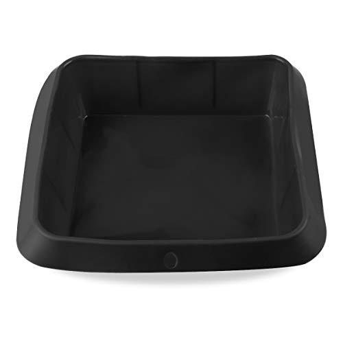 Belmalia Auflauf-Form Silikon, 100% BPA frei, Lasagne-Form, Kuchen-Backform, Kasten-Form, Antihaftbeschichtet, 20 x 20 cm Schwarz
