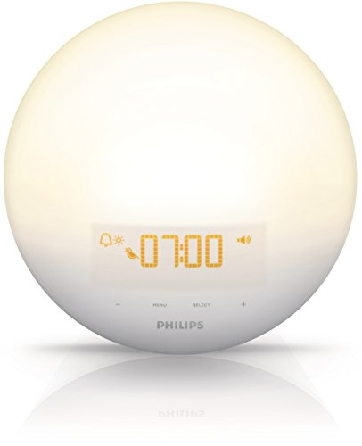 Philips Wake-Up Light Alarm Clock with Sunrise Simulation and Sunset Fading Night Light, White (HF3510)