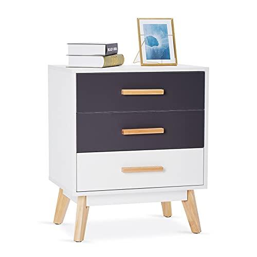 Meerveil Kommode, Schubladenkommode mit 3 Schubladen Freie Kombination von Farben Nordisch Stil für Schlafzimmer Wohnzimmer, 55 x 40 x 66 cm, Weiß und Grau