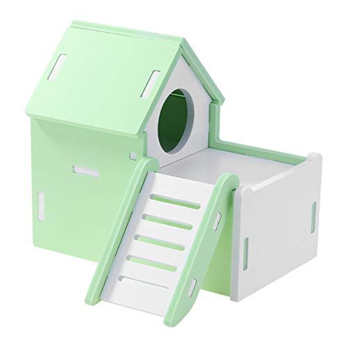 HCO-YU Mini pequeño Animal de compañía Hamster Casa Nido Conejo Mascota Erizo Dormir Log Cabin Animal Dormido Casa Material Regalo de los Juguetes (Color : Green)