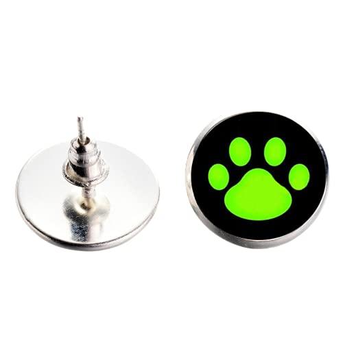 Pendientes para niñas y niños, diseño de mariquitas y gato, color rojo, verde, diseño de huella de perro