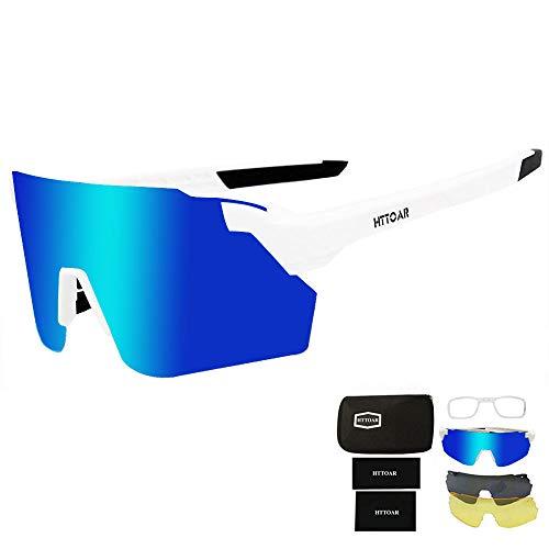 HTTOAR Gafas de Sol Deportivas,Gafas De Sol para Ciclismo con Proteccion Deportes al Aire Libre, Pesca, Ski, Conducción, Golf,Bicicleta,Ciclismo Gafas(white)