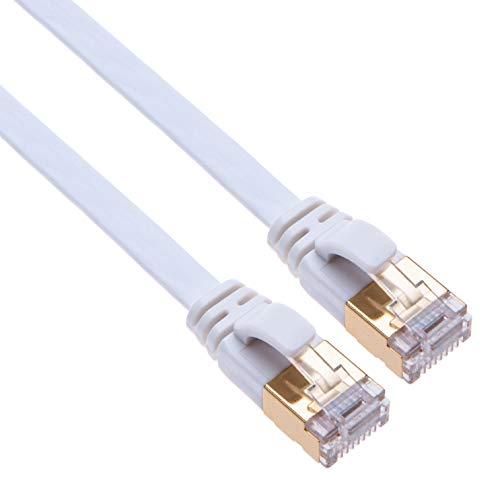 Flach CAT 7 Internet Kabel RJ45 Gigabit Netzwerkkabel 10 Gbps Flachkabel Kompatibel mit Switch, Router, Modemnetzwerkadapter, Modem, Netzwerk-Steckdose, Zugangspunkt | CAT7 STP LAN Kabel | 5m Weiß