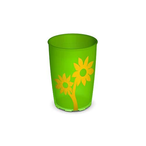 Ornamin Becher mit Anti-Rutsch Blume 220 ml grün/gelb (Modell 820) / Trinkbecher, Pflege-Becher, Kinderbecher