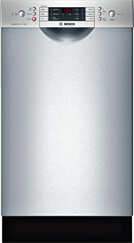 """Bosch SPE68U55UC 18"""" 800 Series Energy Star Rated Dishwasher with 10 Place Settings 6 Wash Cycles and 5 Options Water Softener Stainless Steel EuroTub and AquaStop Plus Leak Protection in Stainless"""