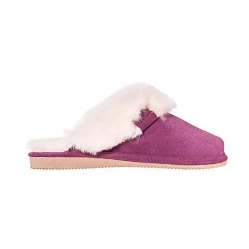 Vanuba Cashmere Handmade Damen Hausschuhe, Naturleder, 100% Schafwolle, Warme und Bequeme Hausschuhe, Velours Violett, Leder Weiß, 40 EU