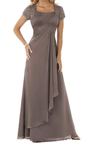 HUINI Abendkleid Chiffon Lang Brautmutterkleid Empire Ballkleid Festkleid mit Ärmel Hochzeitskleid Partykleid Grau 42