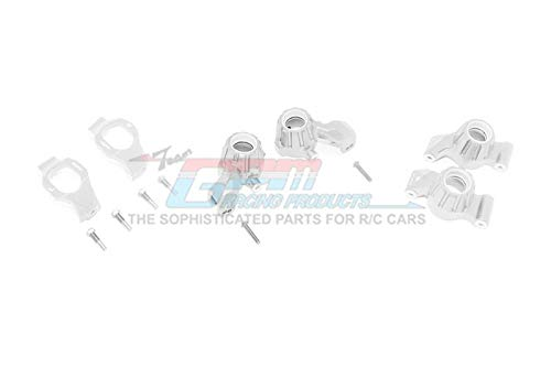Traxxas 1/10 Maxx 4WD Monster Truck Upgrade Parts Aluminum Front C-Hubs + Front & Rear Knuckle Arms - 12Pc Set Silver