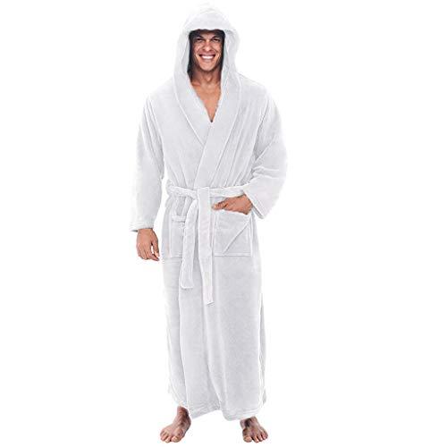 Dasongff badjas voor dames en heren met capuchon, extra lang, huisjas, ochtendjas, saunamantel, met knoopriem pyjama nachtkleding