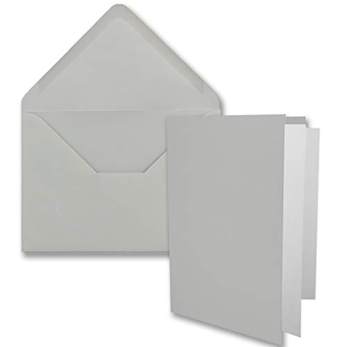 50x DIN B6 Faltkarten-Set - Hellgrau - 115 x 170 mm - 11,5 x 17 cm - Doppelkarten mit Umschlägen und Einleger-Papier - FarbenFroh by GUSTAV NEUSER