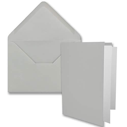 25x DIN B6 Faltkarten-Set - Hellgrau - 115 x 170 mm - 11,5 x 17 cm - Doppelkarten mit Umschlägen und Einleger-Papier - FarbenFroh by GUSTAV NEUSER®