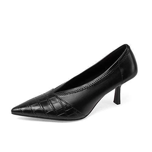 TinaCus Sapato feminino de couro legítimo, feito à mão, com bico fino, salto stiletto, elegante e sem cadarço, Preto, 6