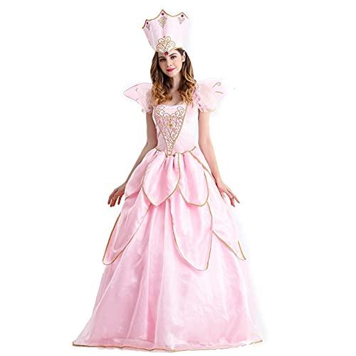 GDYJP Vestido de fantasía Adulto con Flores con Sombrero Disfraz de Mujer Bonita Halloween (Color : A, Tamaño : XL)