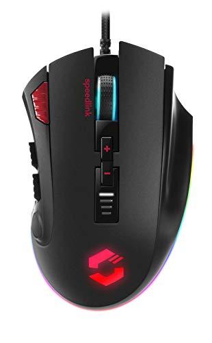 Speedlink TARIOS RGB Gaming Mouse - USB Maus mit RGB Beleuchtung für Büro/Home Office (12 programmierbare Tasten - mit dpi-Schalter bis zu 24000 dpi) für PC/Notebook/Laptop, schwarz