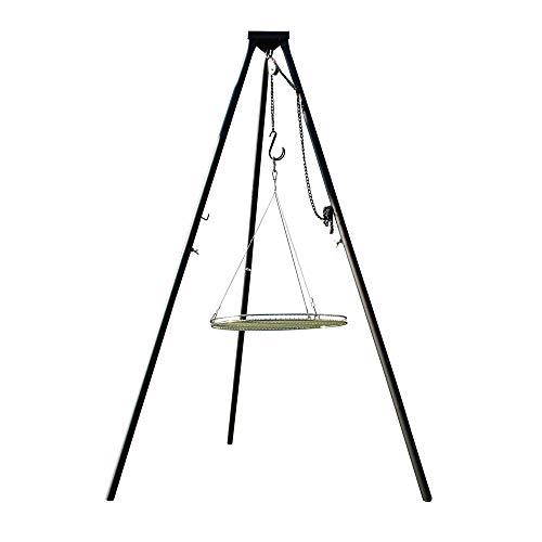 AKTIONA Massives 180 cm Stahl Dreibein Benny + Edelstahl Grill Ø 70 cm mit Seil nur 10 mm Stababstand Schwenkgrill massives Stahl-Dreibein auch für Gulaschkessel Gulaschtopf Schwenker BBQ