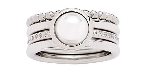 Jewels by Leonardo Damen-Ring aus Edelstahl Silber mehrteilig I Fingerring Set mit auffälliger Perle und filigranen Kristallen I mehrreihig tragbar